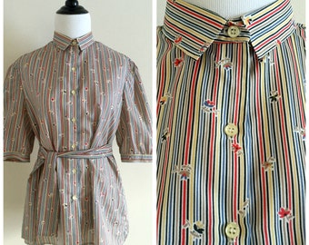 Striped and Floral Multi-color Vintage Short Sleeve Blouse, Haberdashery Size 12/14 Women's Large