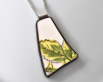Broken China Jewelry Pendant - Green Leaf