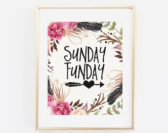Printable Wall Art, Sunday Funday, Sunday Fun Day Art Print, Fun Day Wall Art, Floral Wreath, Floral Quote, Instant Download, 8x10 JPG