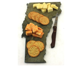Vermont Slate Cheese Board, Serving Tray, or Cutting Board- Personalized with Laser Engraving