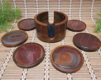 Agate Gemstone Wood Drink Coasters & Bottle Coaster Set by Woodstones Made in Brazil Brown Quarz Rock Gift Idea Vintage FREE SHIPPING (810)