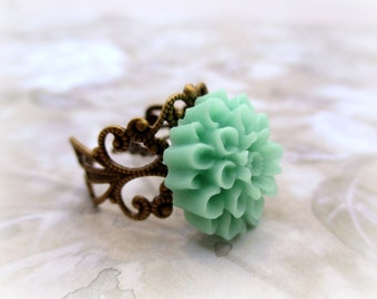 Flower Ring, Gift For Her, Resin Jewelry, Adjustable Ring, Gift for Mom, Green Blue Statement Ring, Cabochon Ring, Flower Jewelry, Boho Ring