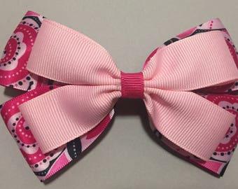 Bright Pink Hot Pink Hair Bow, Paisley Pink Hair Bow