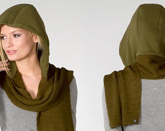Schoodie hooded scarf Olive Scarf and Olive Hood