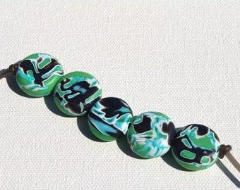 Polymer Clay Perlen/grün-blau-schwarz-weiß
