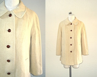 Vintage wool coat WINTER CREAM single breasted swing coat - M/L