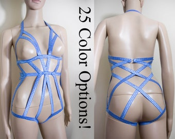 Lilly Cage Bodysuit Elastic Body Harness Bodysuit Open Cup Bodysuit Strappy Cage Lingerie Burlesque Harness Pretty body harness Playsuit