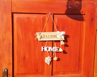 Welcome-Home-decoration, wall decoration, wooden sign with heart
