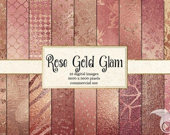Rose Gold Glam Digital Paper, rose gold glitter metallic foil scrapbook paper pack, textures backgrounds, gold leaf pink glitter backgrounds