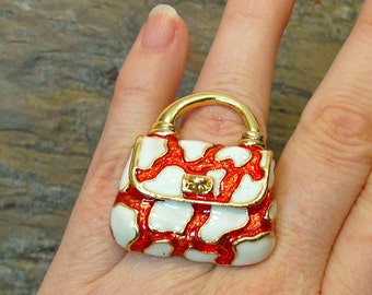 SALE - Red Purse HUGE Fashion Costume Cocktail Ring - Up-cycled Pin - Adjustable Size