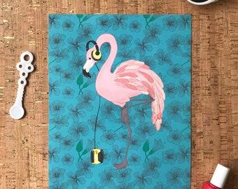 Wall Art | Wall Decor | Home Decor Flamingo with Yellow Headphones & Walkman Illustration on Tropical Hibiscus Blue Unframed 8x10 Art Print