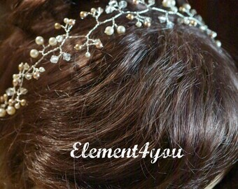 Bridal hair vines, Bridal pearl crystal vines, Gold or silver wire, Wedding hair piece, Statement piece, ivory rose gold pearls, Delicate