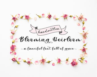 Extended License: Handwritten Script Font - Blooming Heirloom - Downloadable Font - Web Format