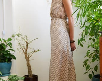 long silk dress\cream & pink\small floral print