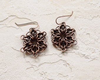 Copper Chainmaille Celtic Star Earrings