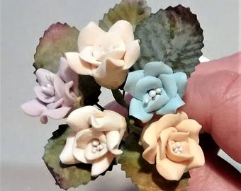 FF-132 Mixed Dusty Colored Polymer Clay Roses