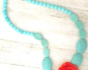 Turquoise Necklace With Red Rose