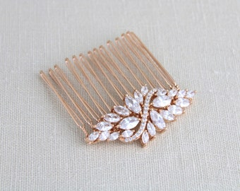 Rose Gold hair comb, Wedding hair comb, Crystal hair comb, Bridal headpiece, Hair clip, Hair pin, Rhinestone hair accessory, hair piece