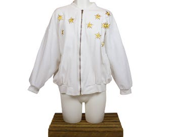 The La Costa Spa Yellow Star Zip Up Sweater - M