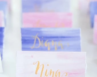 Watercolor place cards wedding