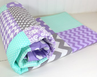Baby Blanket, Baby Quilt, Nursery Decor, Minky Baby Blanket, Baby Shower Gift, Lavender, Purple, Mint, Gray, Grey, White, Baby Girl