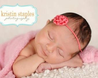 Color Choice Flower Newborn Headband Infant Preemie Headband New Baby Gift Preemie Headband Shabby Chic Headband You Pick