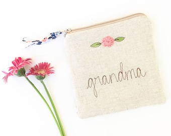 Grandma Gift, 60th Birthday Gift, Coin Purse, Zipper Pouch, Personalized Gift, Nana, Floral, Blue, Pink (#68)