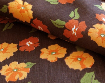 Vintage Floral Print Cotton Fabric / Peach and Chocolate Brown Floral / Cotton Dress Yardage