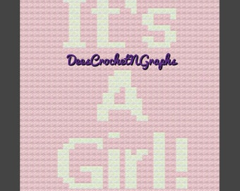 It's A Girl! C2C Baby Graphghan/Graph Chart/Writter Pattern/Counted Color Blocks