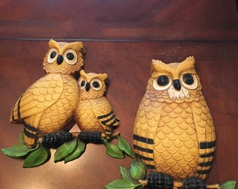 Vintage Homco Owl Wall Hangings - Set of 2 - Yellow Gold Owls with Black and Green Leaves
