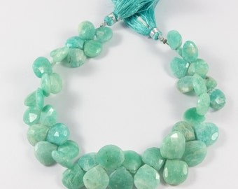 """SALE 50 % Off Amazonite Faceted Heart Briolettes Heart Shape Beads - Amazonite  Briolette , 11x11 mm , 9"""" , GSBr017"""