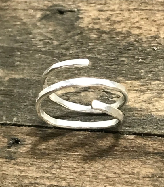 Hammer spiral statment ring-silver filled