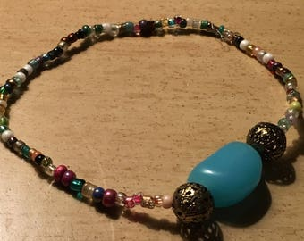 Colorful beaded ankle bracelet