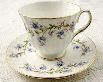 """Duchess """"Tranquility"""" Flower Tea Cup and Saucer, Vintage Bone China"""