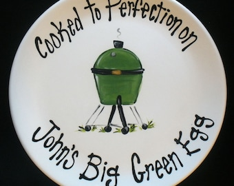 """EXTRA LARGE 15"""" Personalized BBQ Plate - - Hand Painted Ceramic Grill Plate - Great Father's Day Gift"""