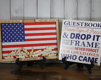 Personalized Guest Book/Flag/Air Force/Navy/Army/Coast Guard/Patriotic/Military/Retirement/Guest Book/Wood Shape/Ships