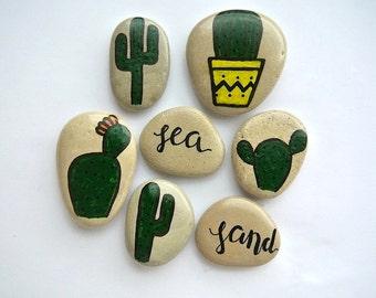 Hand-Painted Beach Stones, Cactus Art, Cactus Painting, Home Decor, Beach Pebbles, Cacti, Decoration Stones, Calligraphy Art