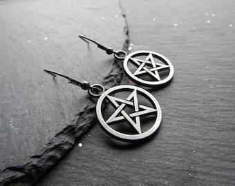 Gunmetal Pentacle Earrings, Pentagram Earrings, Wicca Jewellery, Pagan Jewelry, Witchy Earrings, Pagan Earrings, Goth , Alternative Jewelry