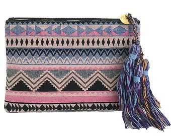 Boho Clutch #2 | Boho Zippered pouch, Clutch, Purse, Everyday purse, Zip pouch, Tassel pouch, Travel zip pouch, Small purse, Aztec Clutch