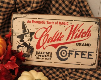 Celtic Witch Coffee Sign/Halloween/Vintage Style/Vintage Label Style/Vintage Halloween/Halloween Decor/Kitchen