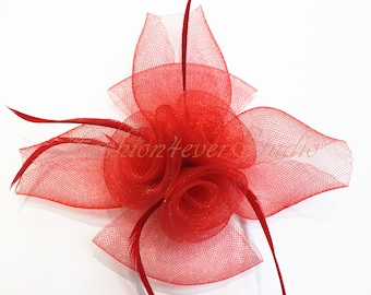 Red Headpiece 9 inches, Flower Fascinator, Feather Headpiece, Flower Fascinator, Feather Fascinator, With Hair Clip and Brooch Pin Back