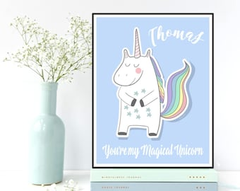 Custom name art poster children, Personalized nursery decor, Children poster, Kids bedroom wall decor, Nursery wall art, Unicorn poster
