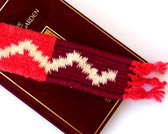 Hand Woven Bookmark..Red Maroon Red White Bookmark...Hand made Bookmark...For Book Lovers...Unique Bookmark...Woven Bookmark..Rustic Style