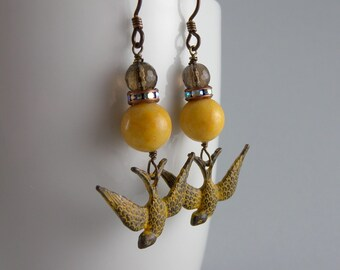 Yellow and Brown Stone Swallow Earrings with Free USA Shipping