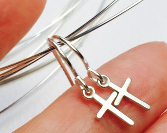 All Sterling Silver Cross earrings, Spiritual Dainty Minimalist  jewelry