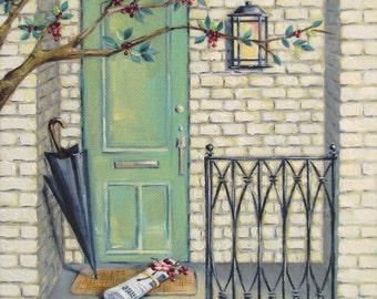 "Porch Painting Art Print - Mint Green Decor - ""The Newspaper"""