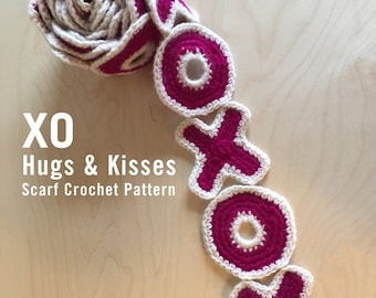 XO Hugs and Kisses Scarf Crochet Pattern