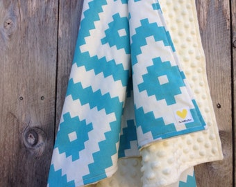 Blue southwestern baby blanket - tribal baby blanket - minky baby blanket - baby shower gift