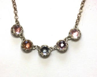 antique style sterling silver collet necklace