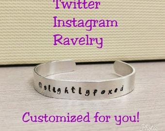 Meet Up Name  Bracelet - Twitter Instagram Ravelry Custom Name